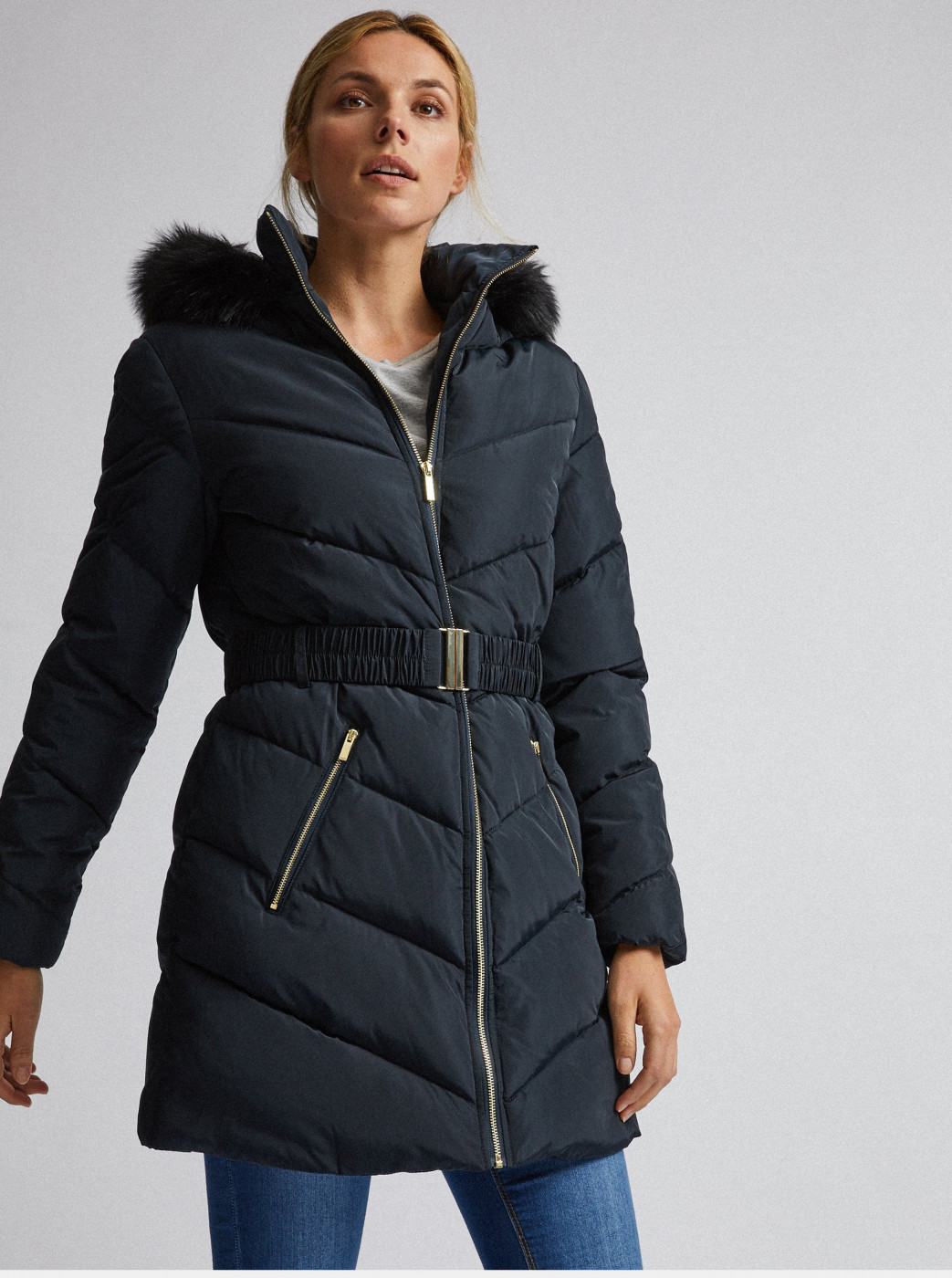 Dorothy Perkins Dark Blue Quilted Winter Coat