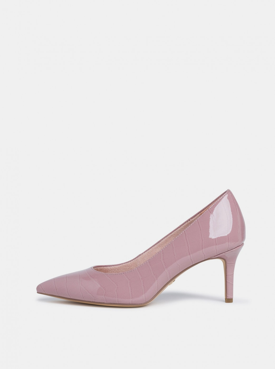 Pink shiny pumps with crocodile pattern Tamaris