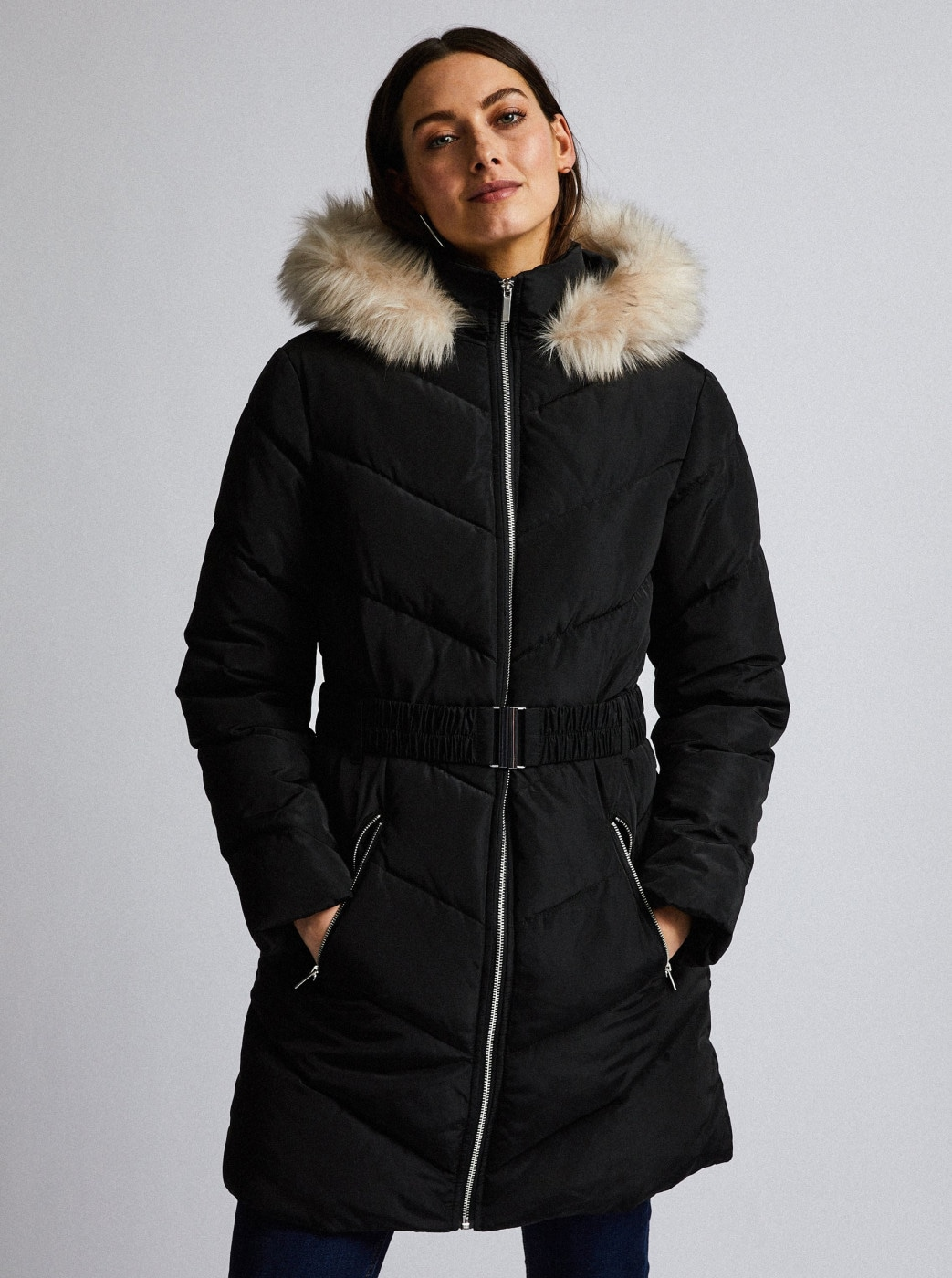 Black quilted winter coat Dorothy Perkins