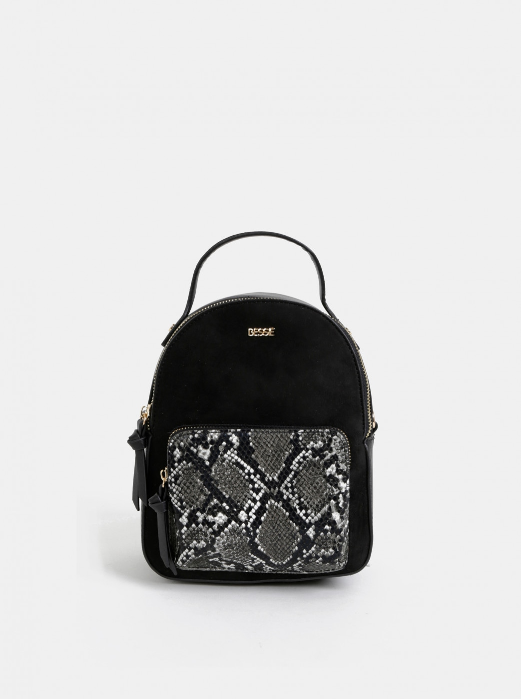 Black snake-patterned backpack with suede detail bessie London