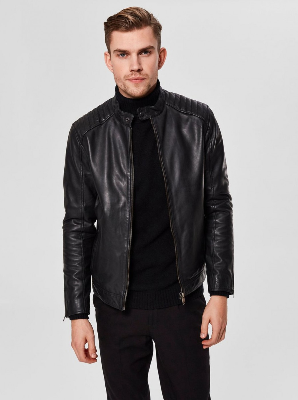 Black Leather Jacket with Zippers on Sleeves Selected Homme