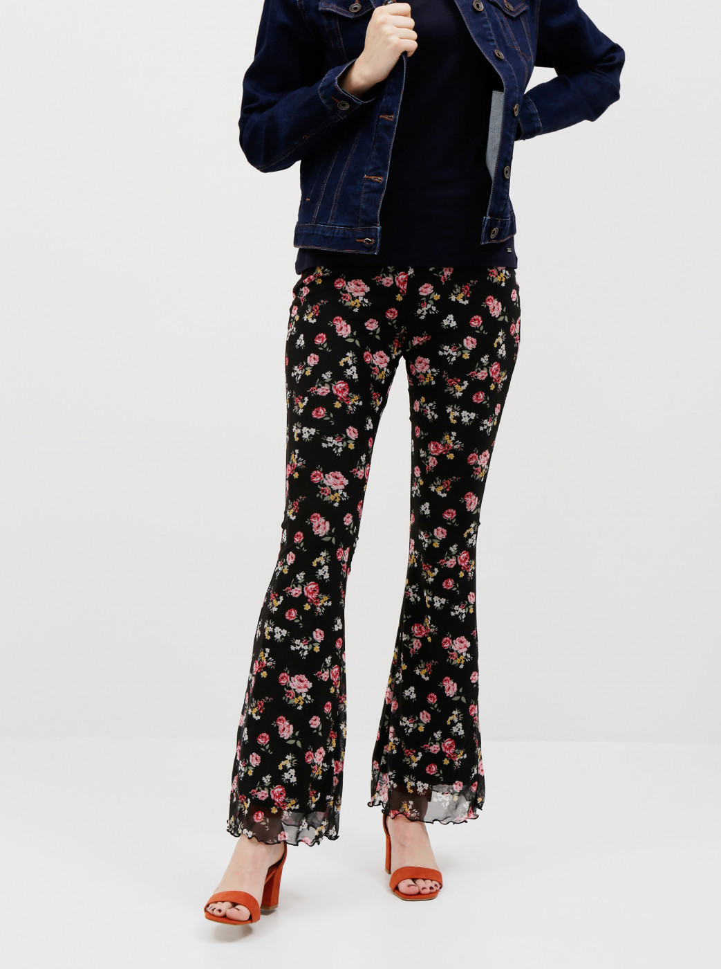 Tally WEiJL Black Floral Flared Fit Pants