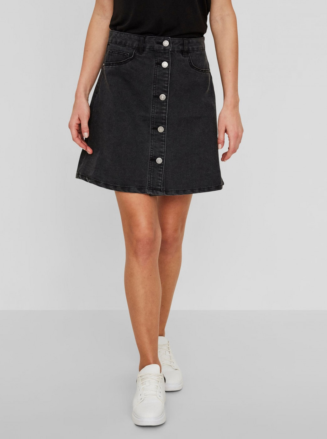 Noisy May Sunny Dark Grey Denim Skirt