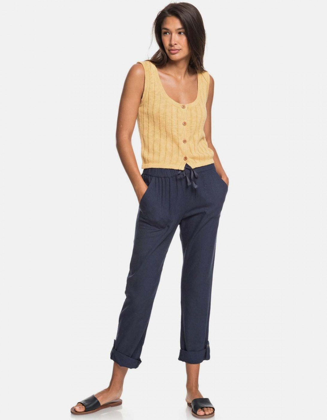 Roxy Dark Blue Cropped Linen Pants