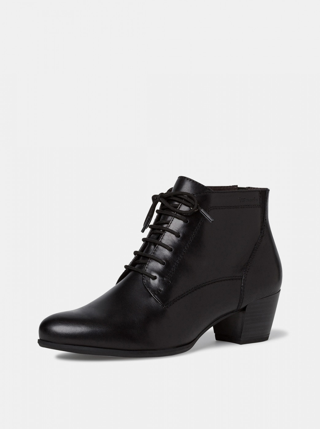 Tamaris Black Leather Ankle Boots