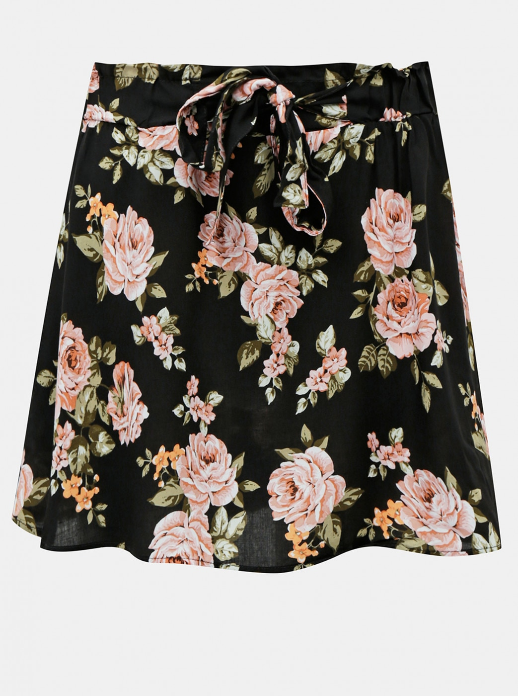 Haily's Tracy Black Floral Skirt