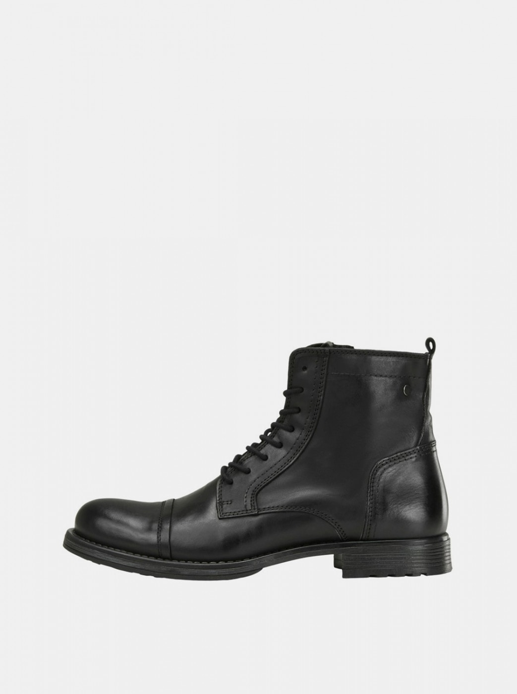 Black Men's Leather Ankle Boots Jack & Jones Russel