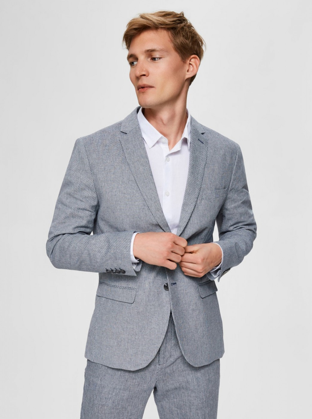 Light Blue Slim Fit Jacket Selected By Homme Will