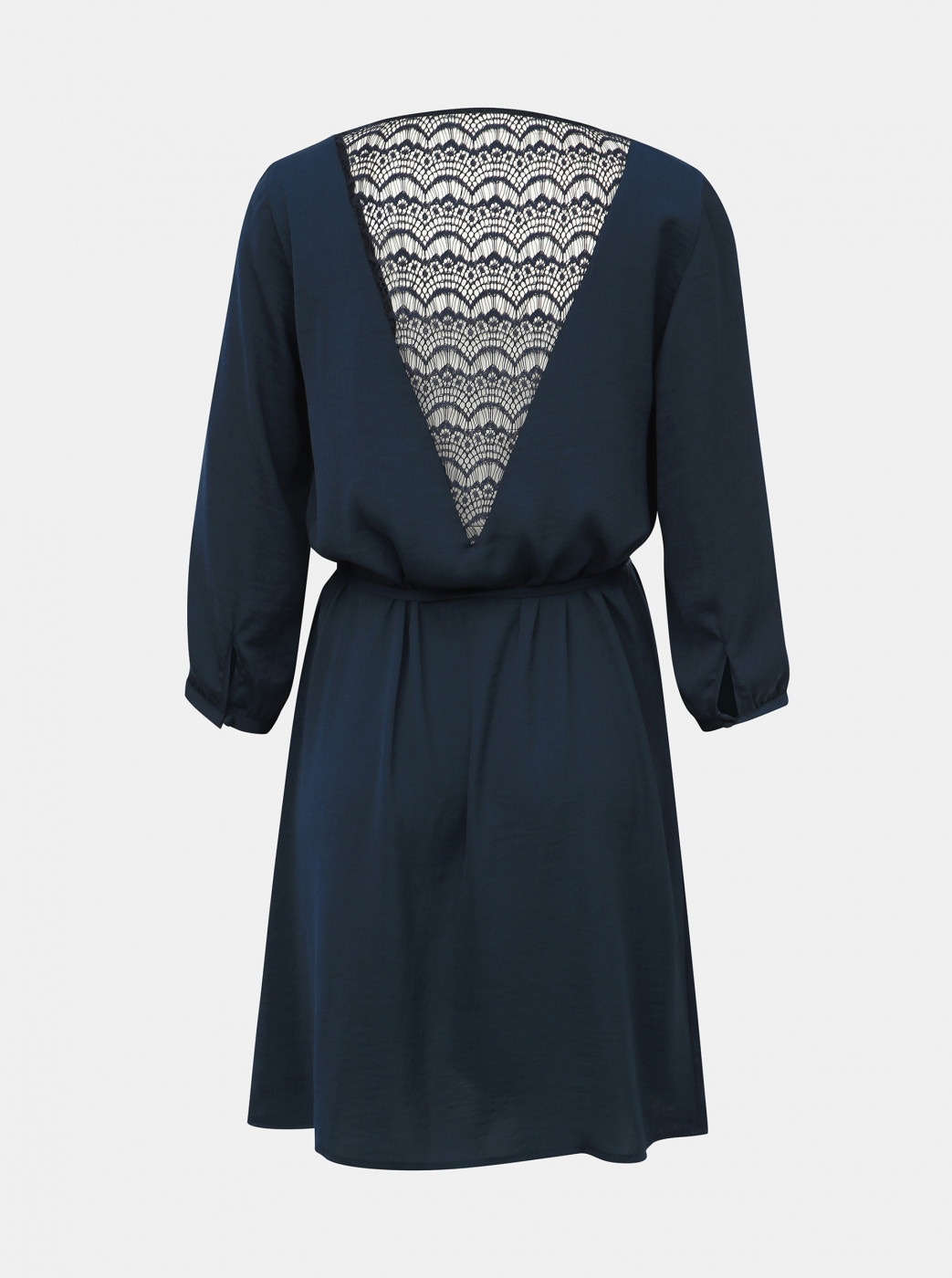 Dark Blue Dress With Lace Vila Solin