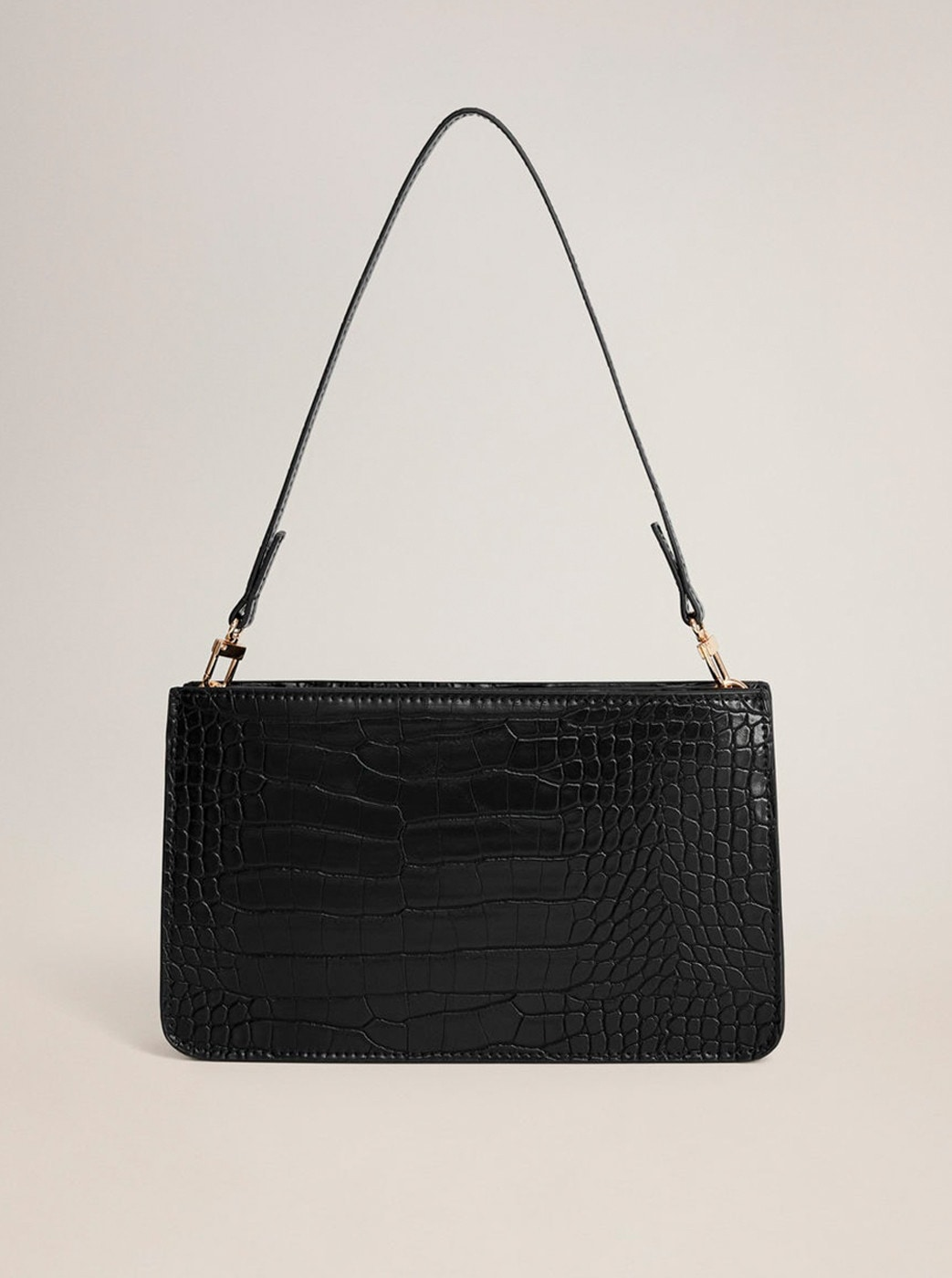 Black crossbody handbag with crocodile pattern Mango Mia
