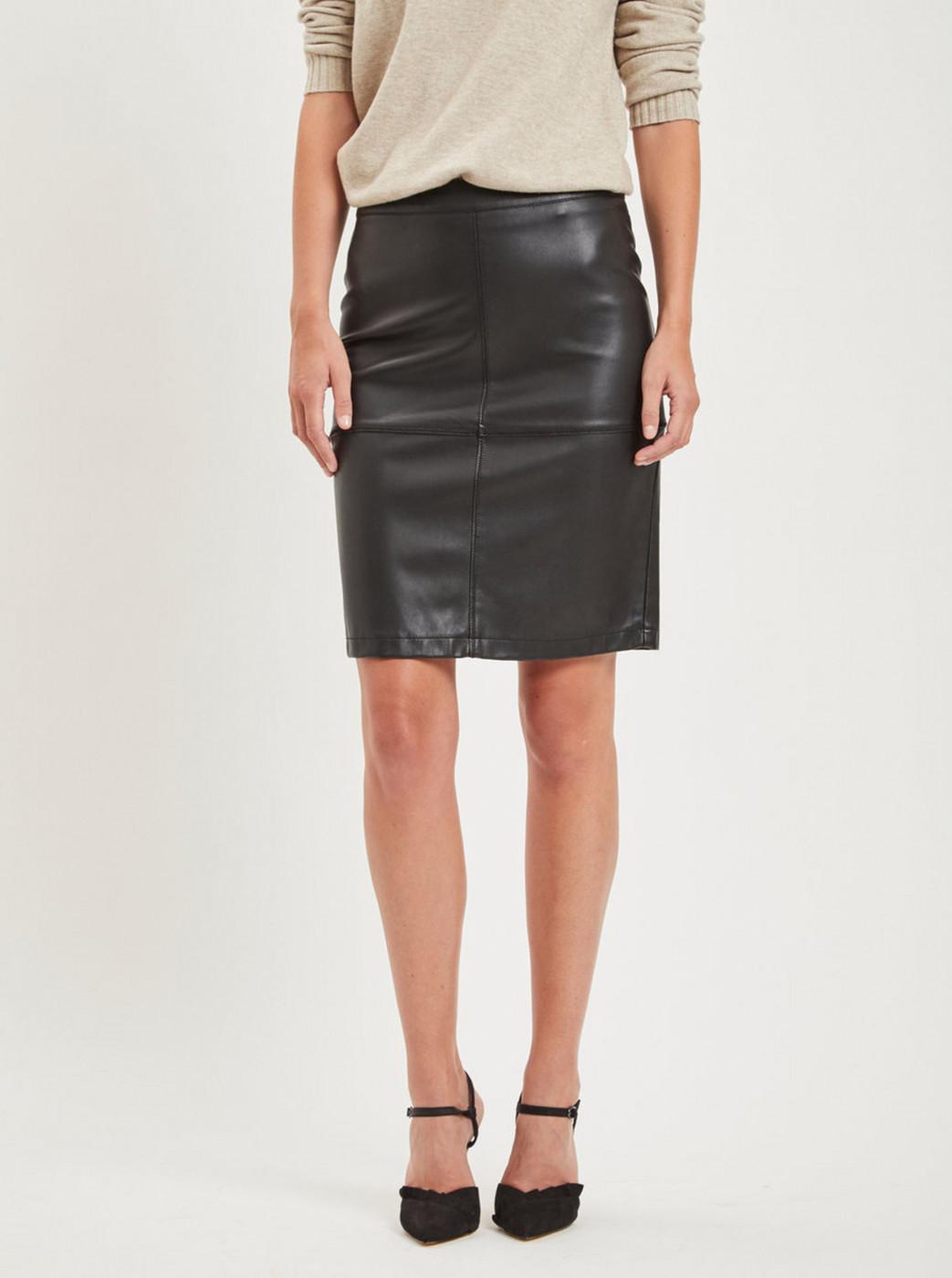 Black leather pencil skirt with slit VILA Pen New
