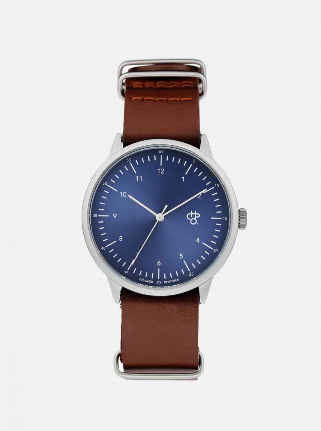 Watch with brown leather belt CHPO Harold Navy Metal