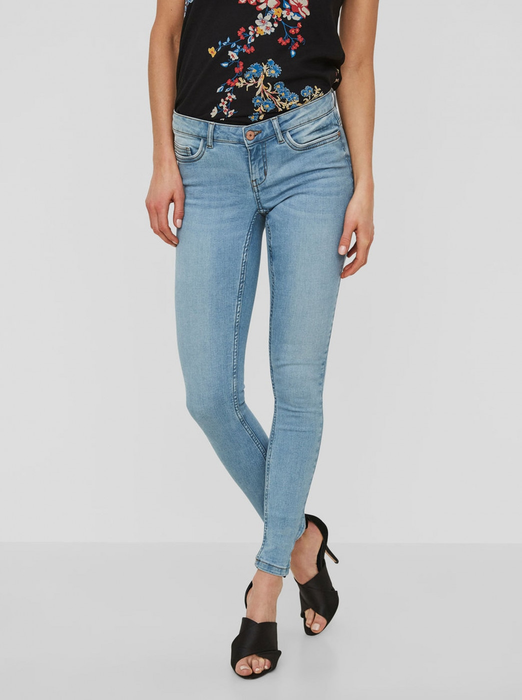 Light Blue Super Slim Fit Jeans Low Waist Noisy May Eve
