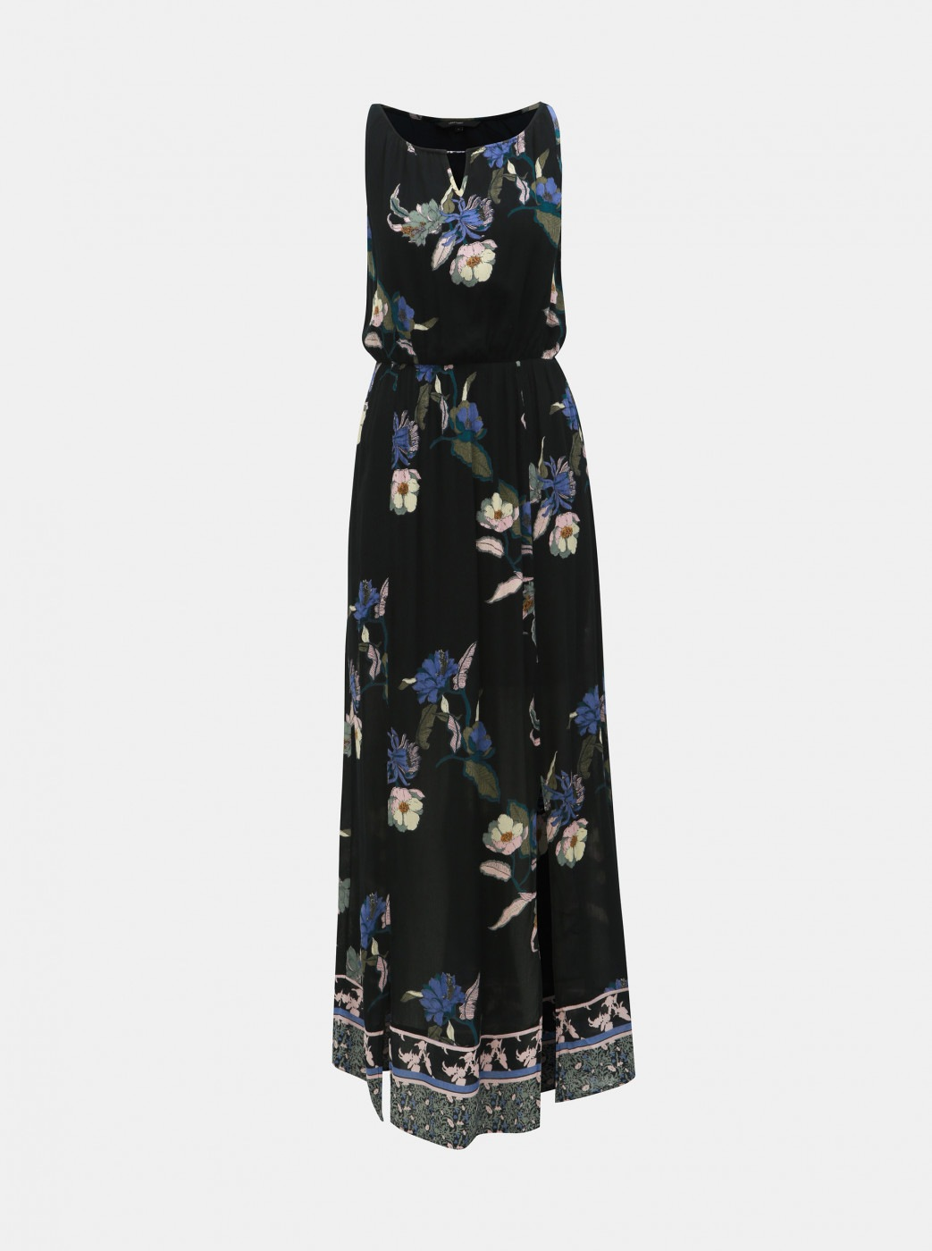 Black floral maxi dress with opening in vero moda olina décolleté