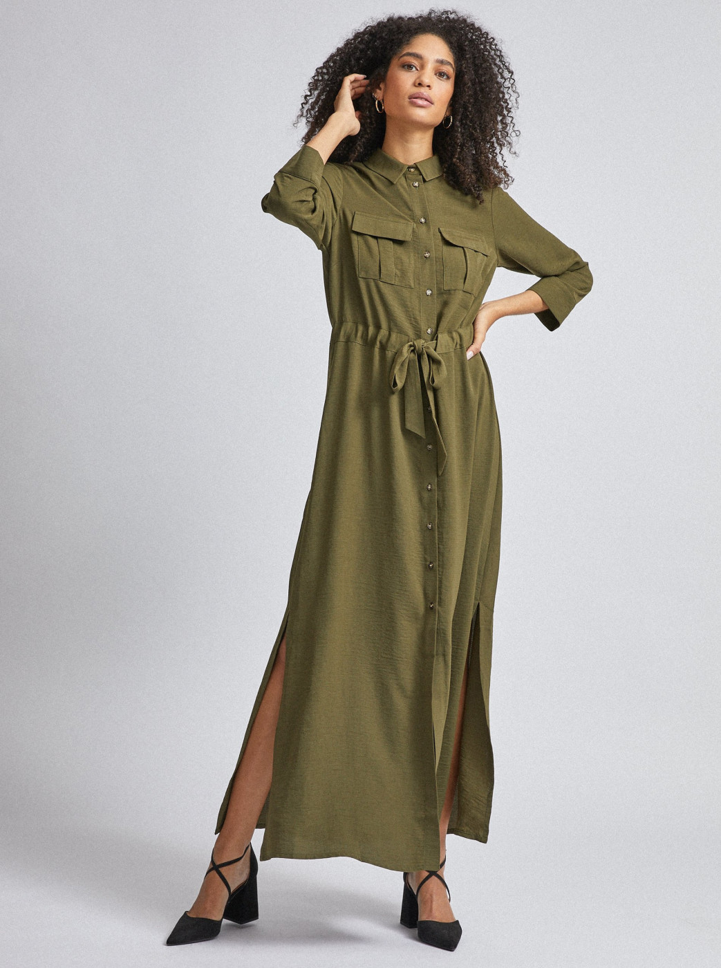Dorothy Perkins Green Shirt Maxi dress