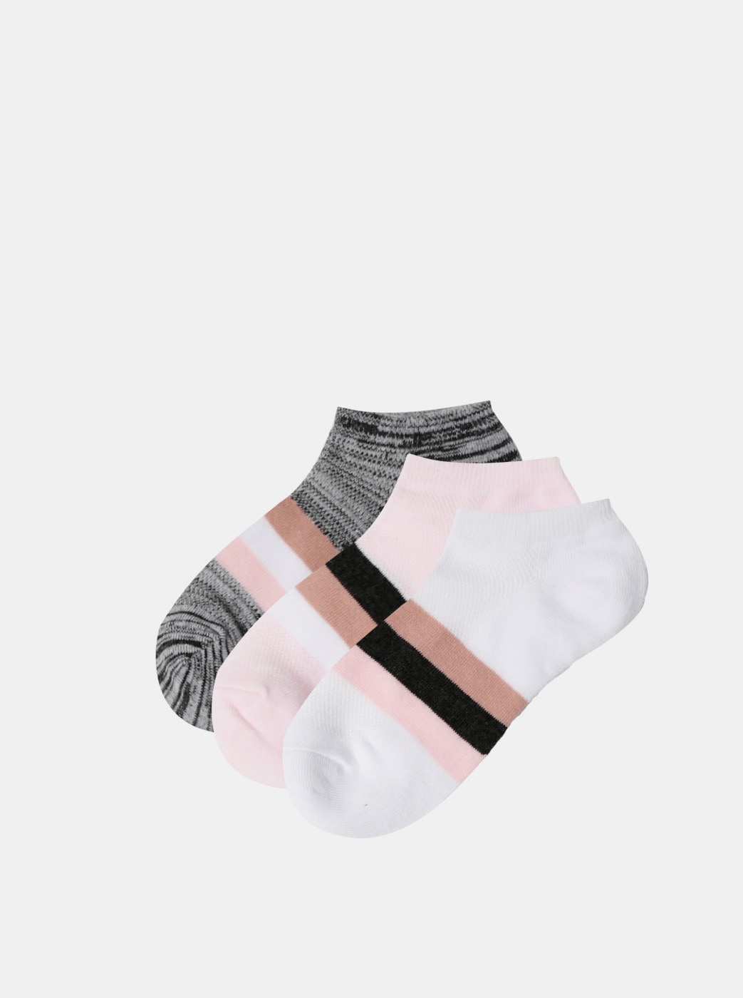 Set of three pairs of low socks in pink and grey TALLY WEiJL