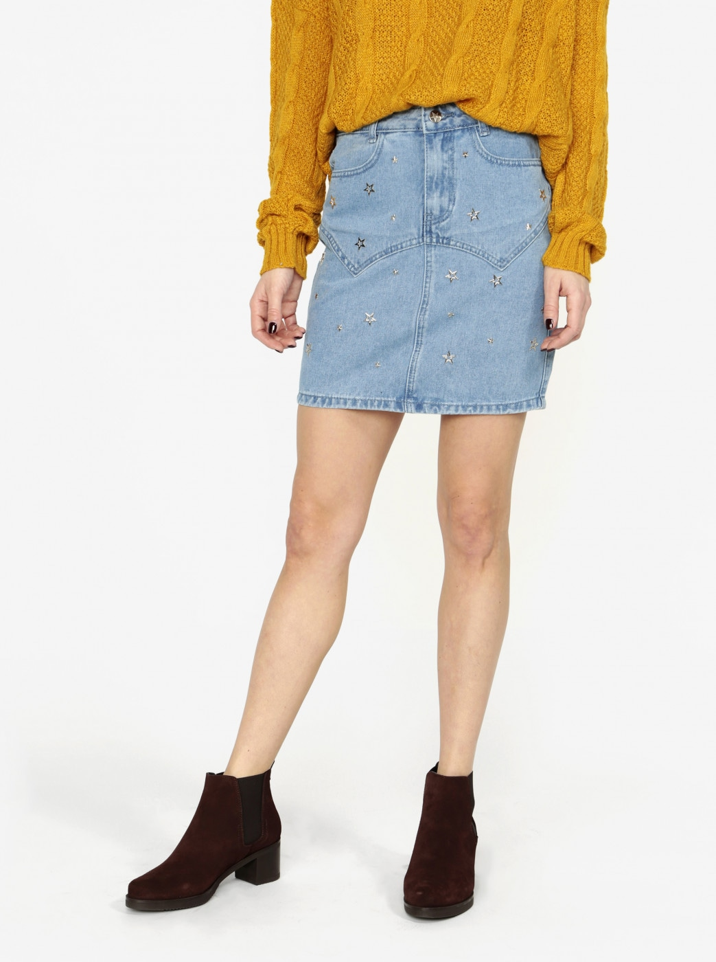 Blue denim skirt with star-shaped application MISSGUIDED