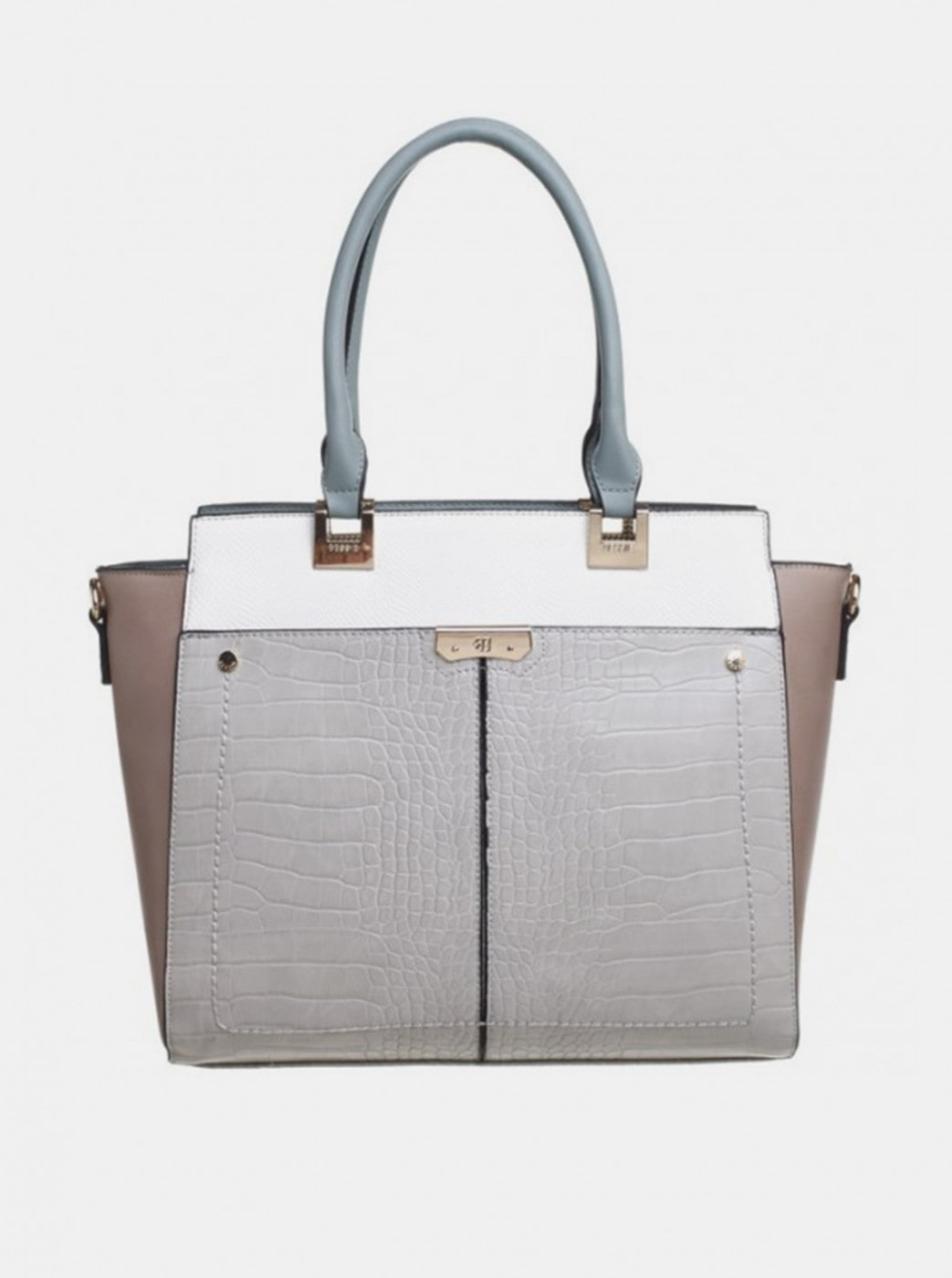 Bessie London Crocodile-patterned light grey handbag