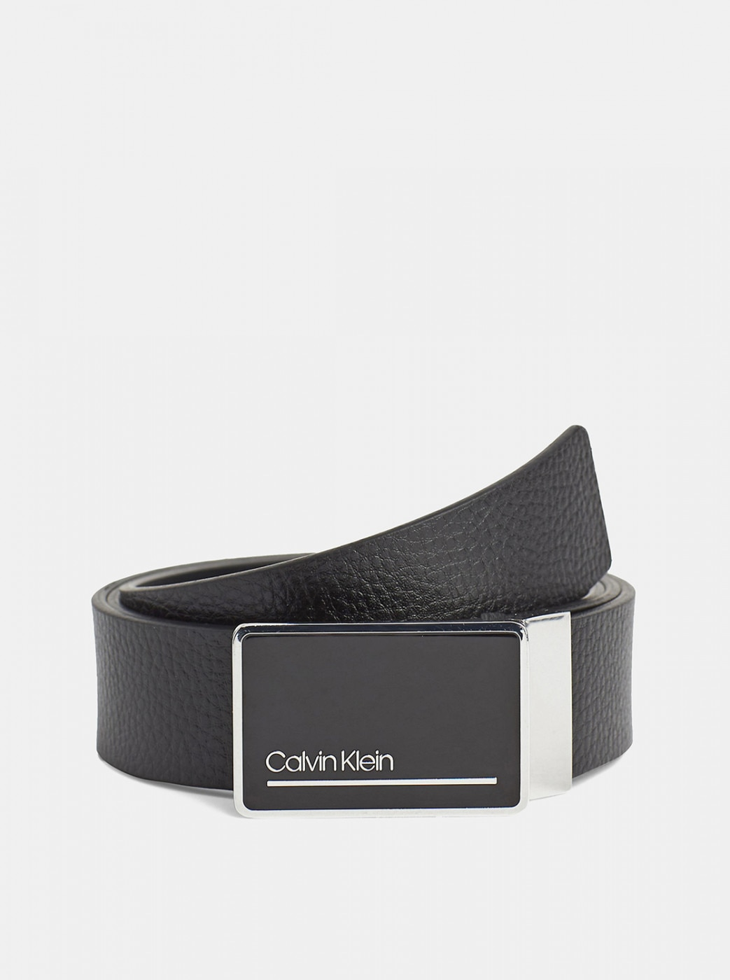 Set of two men's leather belts in black and dark blue calvin klein jeans