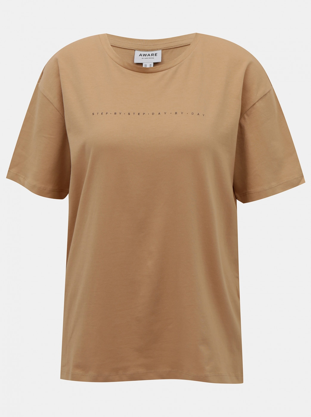 Beige loose t-shirt with printed AWARE by VERO MODA Lilje