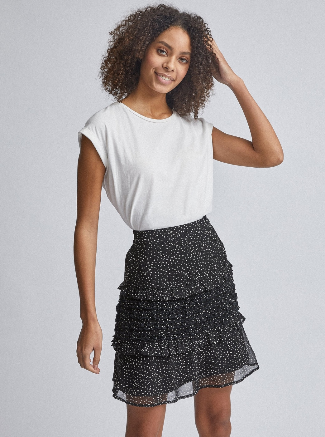 Black patterned skirt with ruffles Dorothy Perkins