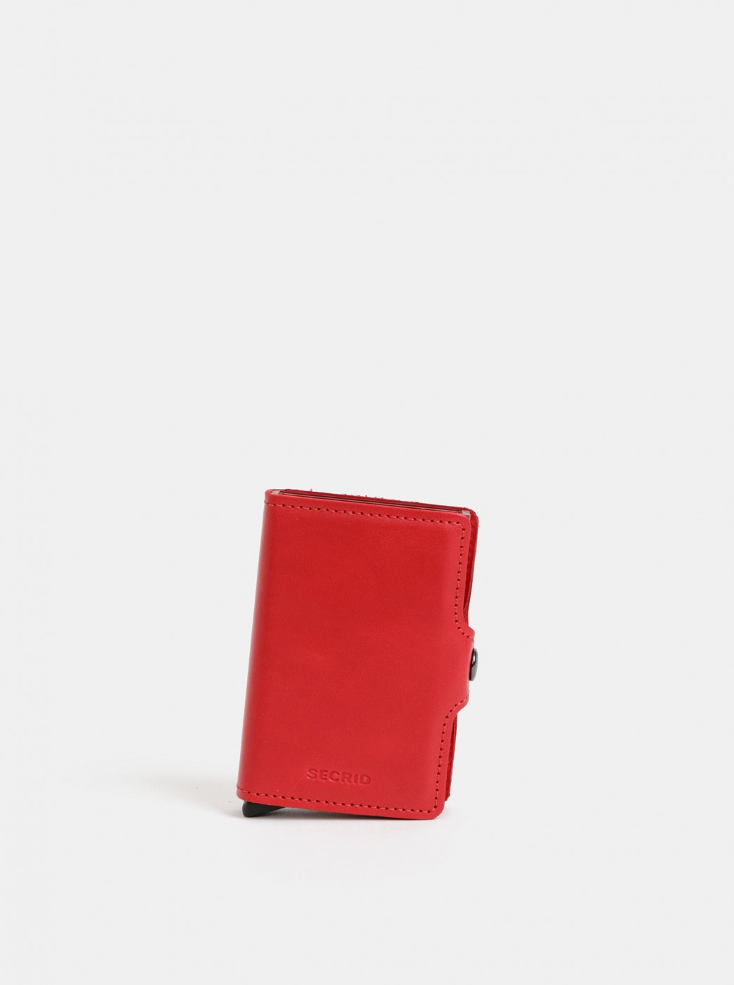 Red Leather Wallet with Secrid Twinwallet Aluminum