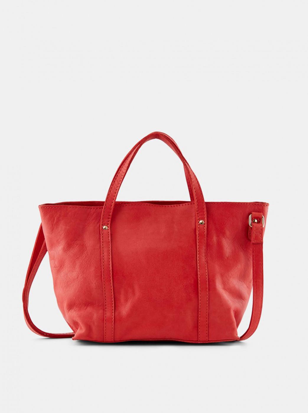 Pieces Aida Red Small Leather Handbag