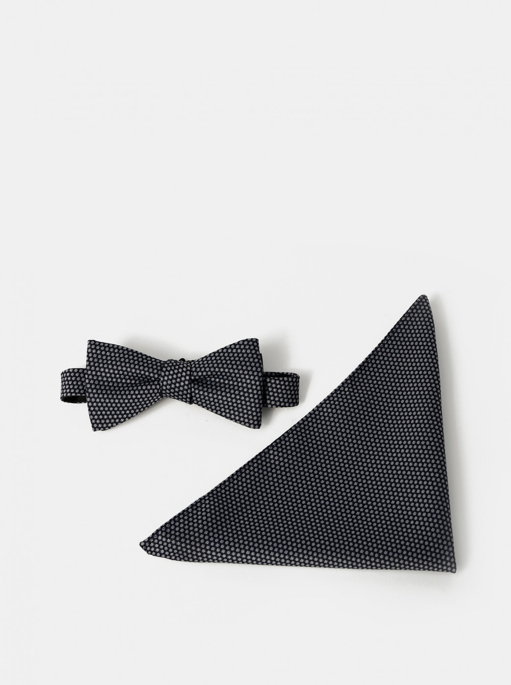 Dark Blue Patterned Bow Tie with Handkerchiefs Selected By Homme Milas