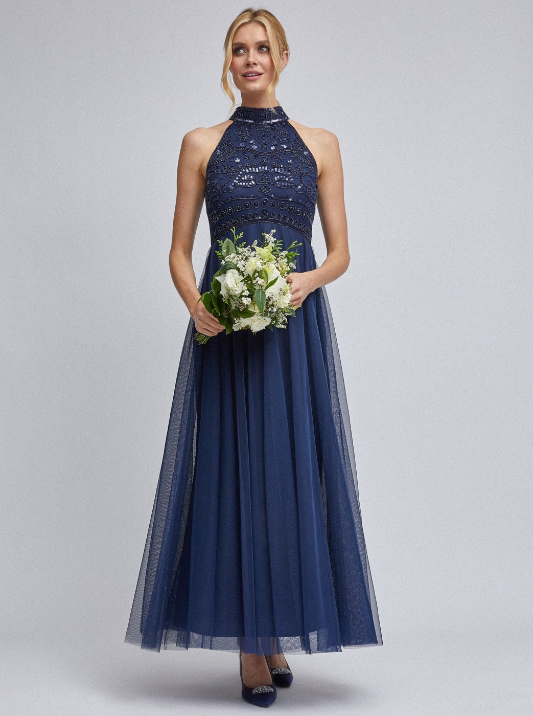 Dark blue tulle maxid dress by Dorothy Perkins