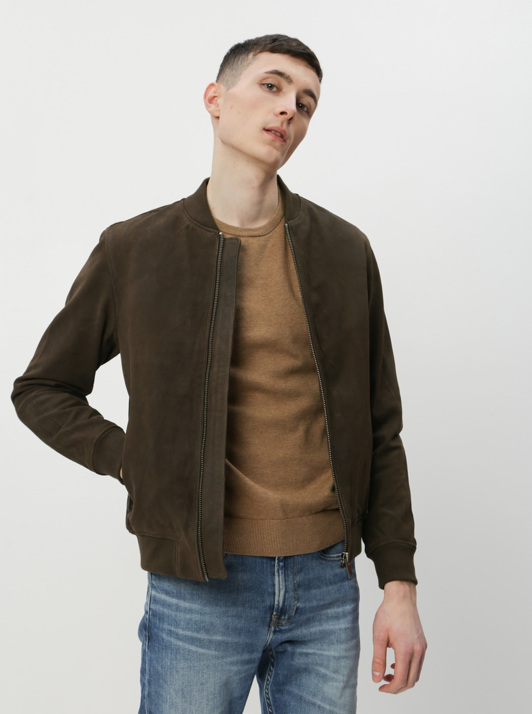 Dark Brown Leather Bomber Jacket Selected Homme B-01