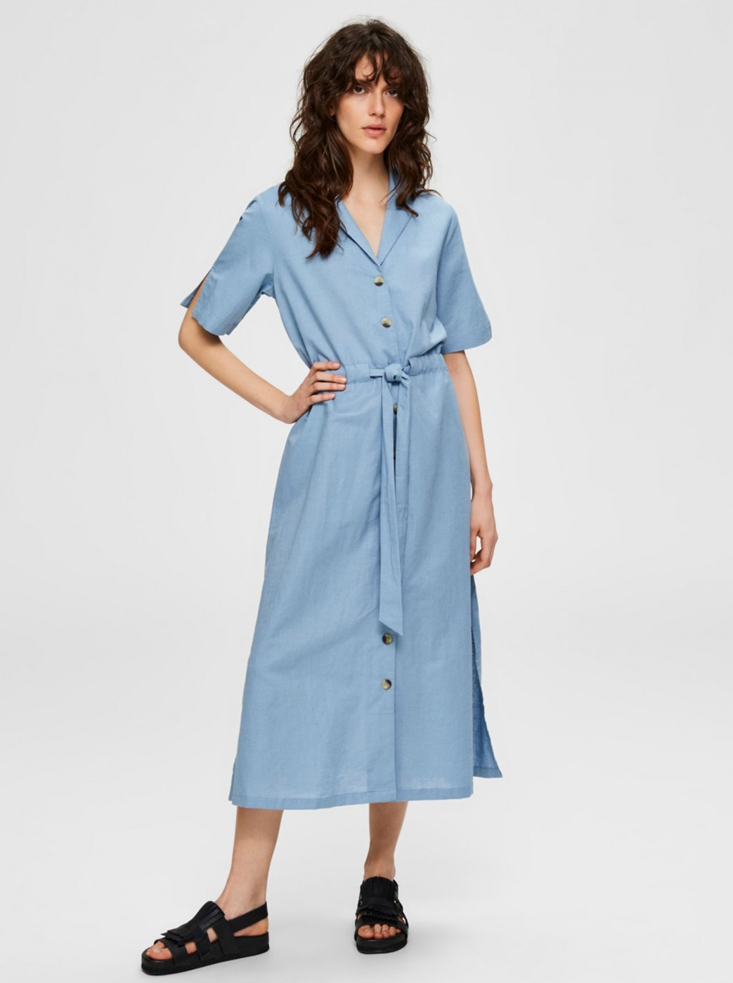 Blue Shirt Linen Midid44 Selected Femme Cally