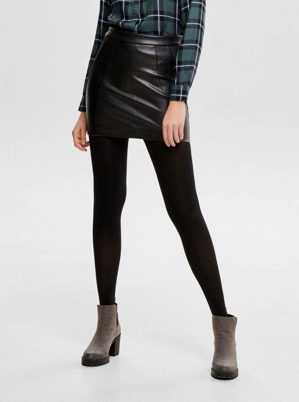 Black leatherette pencil skirt ONLY
