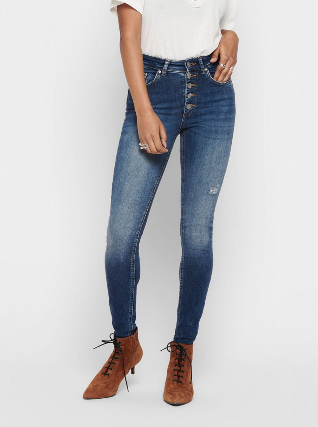 Blue Cropped Skinny Fit Jeans ONLY Blush
