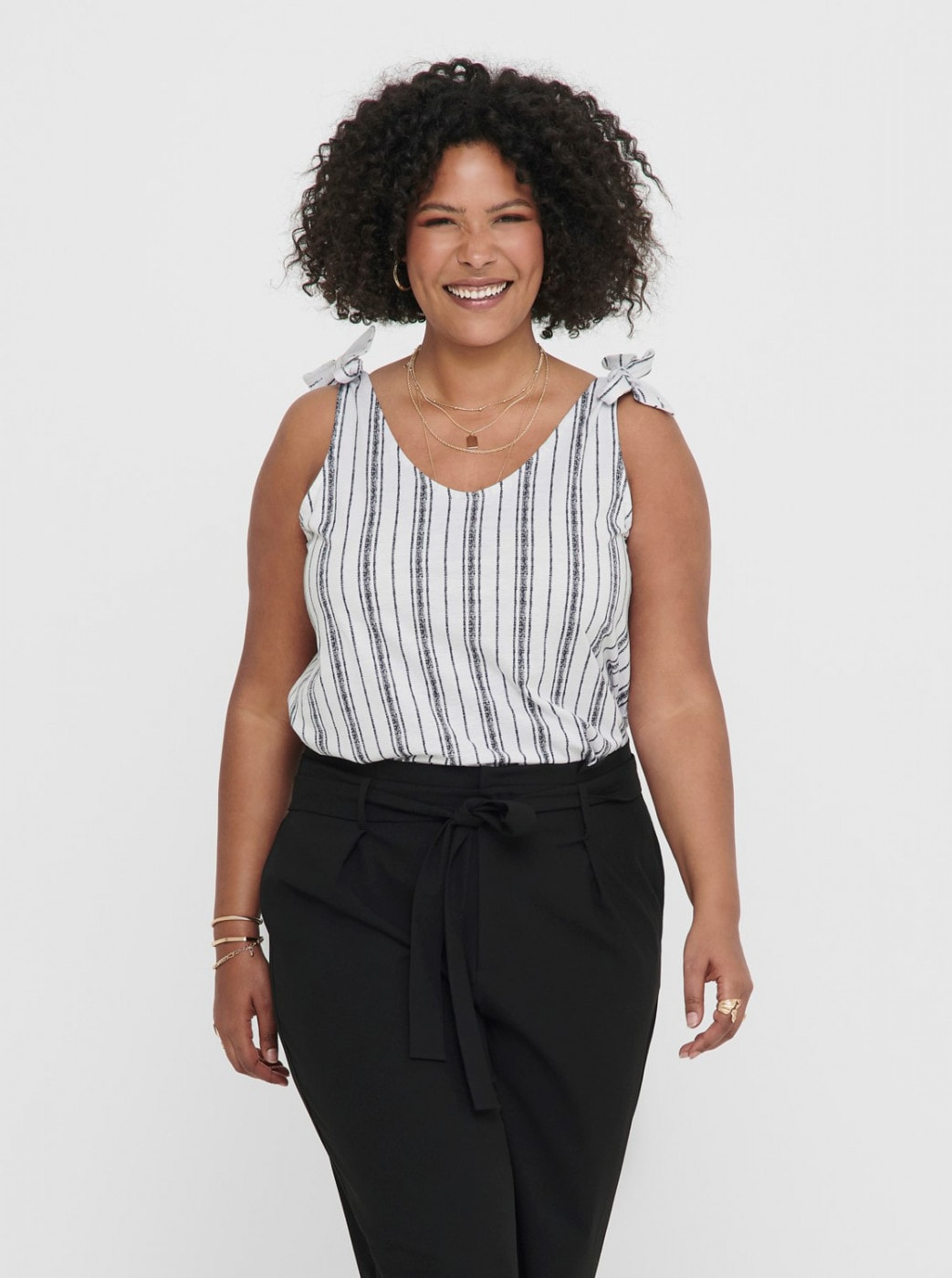 Grey-white Striped Tank Top ONLY CARMAKOMA Adele