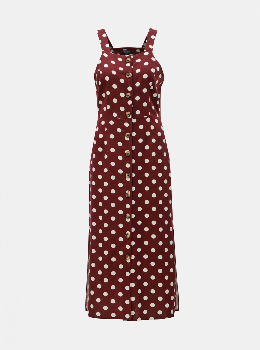 White-burgundy polka dot mididishes with Miss Selfridge flax