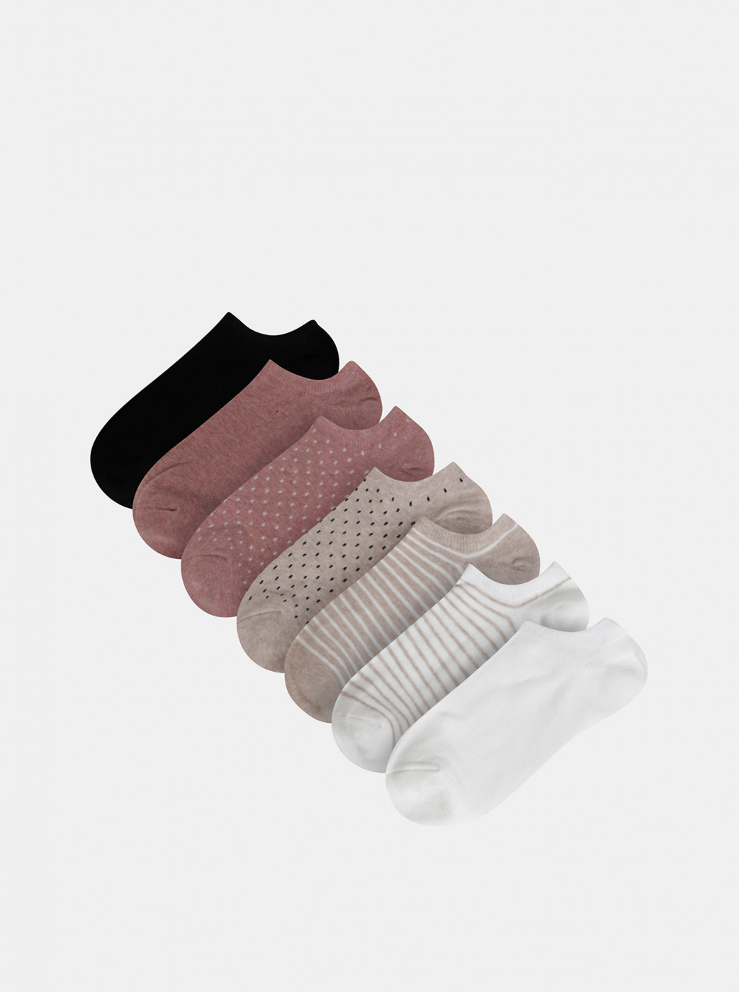 Set of seven pairs of patterned low socks in white, beige, pink and black TALLY WEiJL Flip