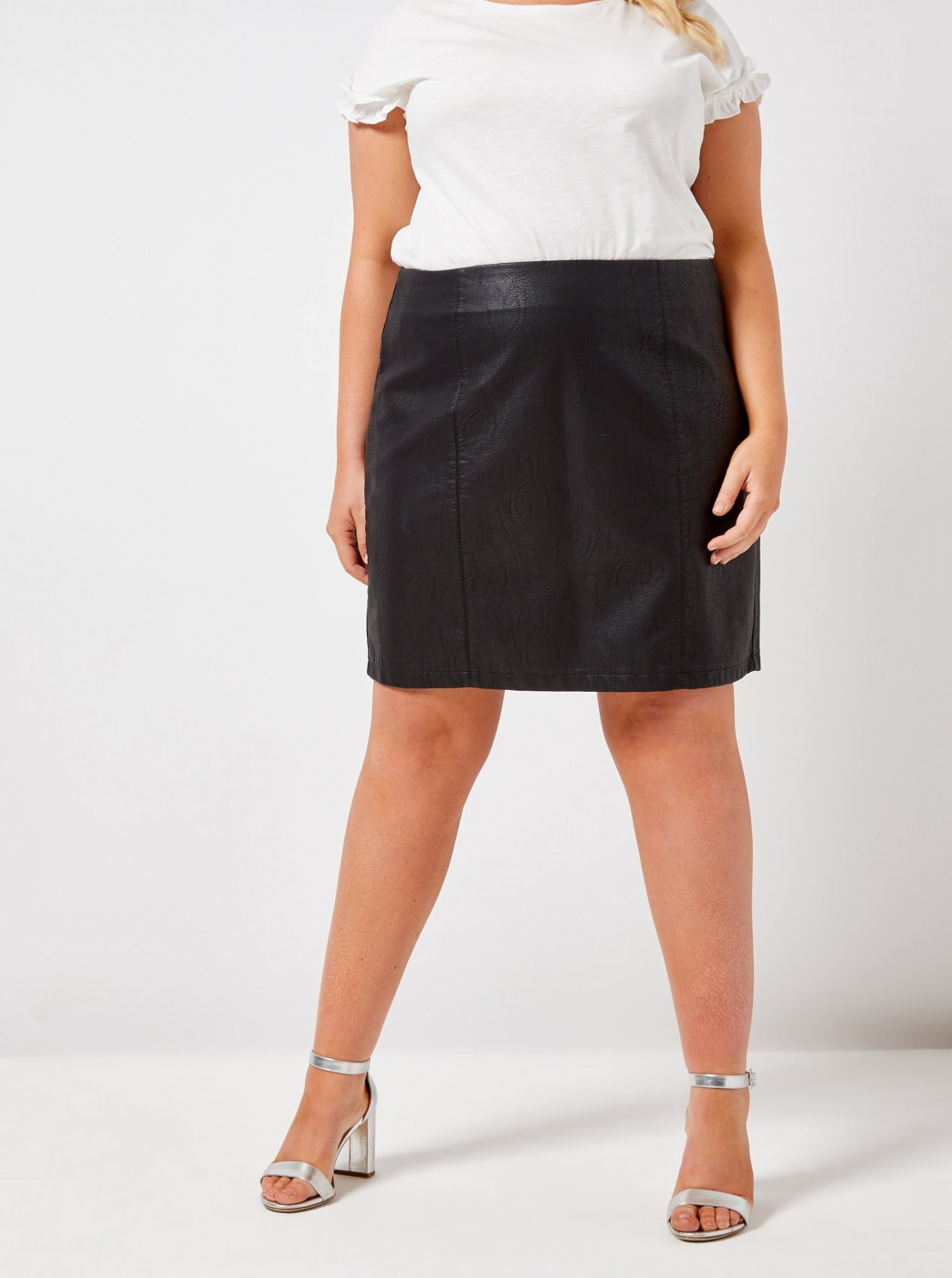 Dorothy Perkins Curve Black Imitation Leather Miniskirt
