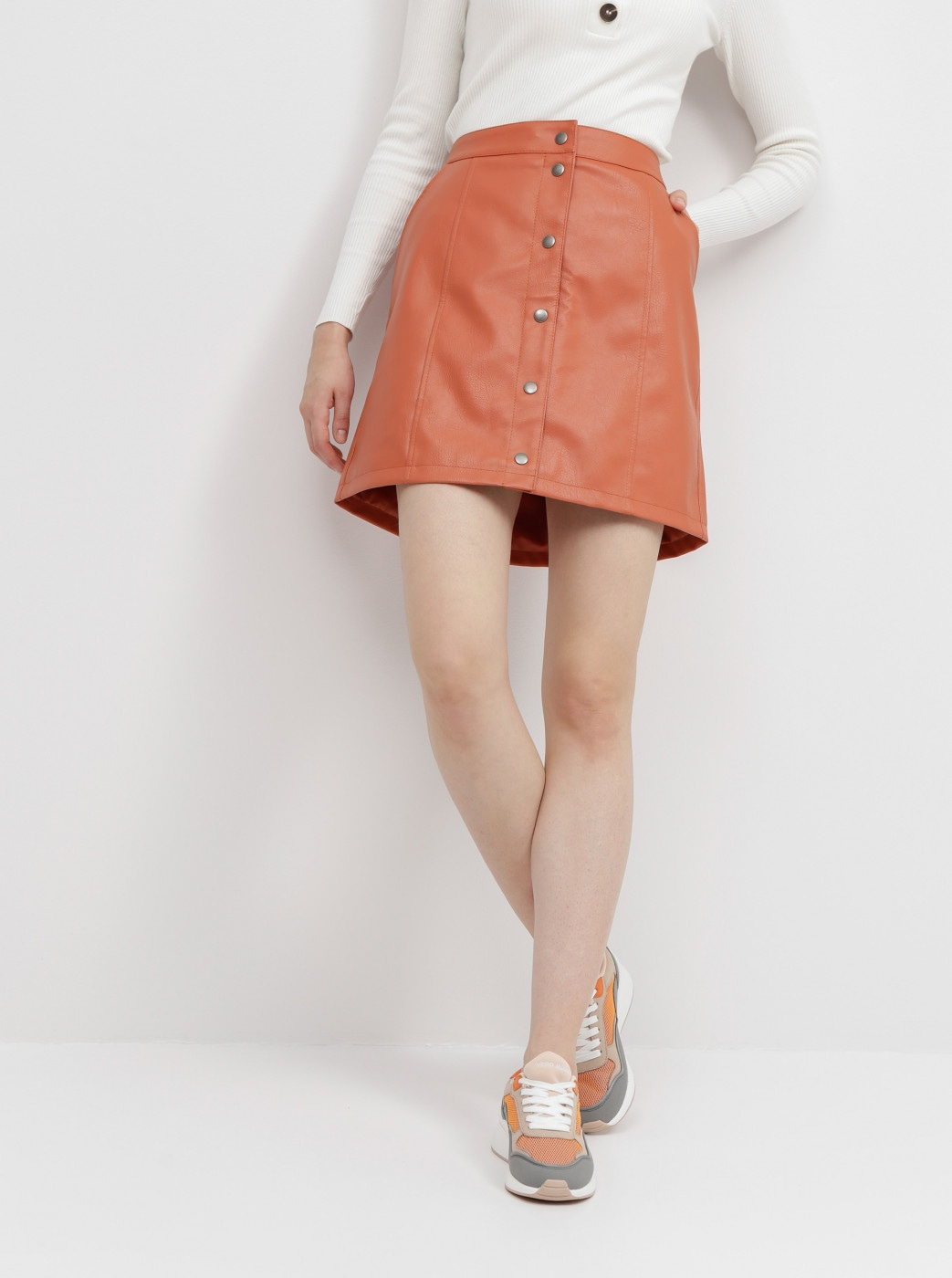 Vero MODA Conneryray Orange Imitation Leather Skirt