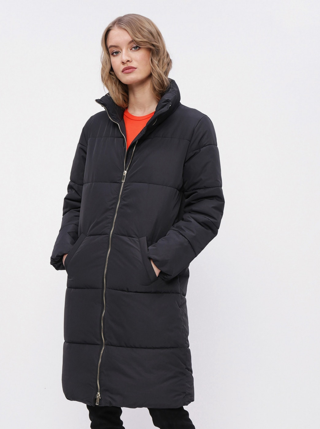 Jacqueline de Yong Erica Black Winter Quilted Coat