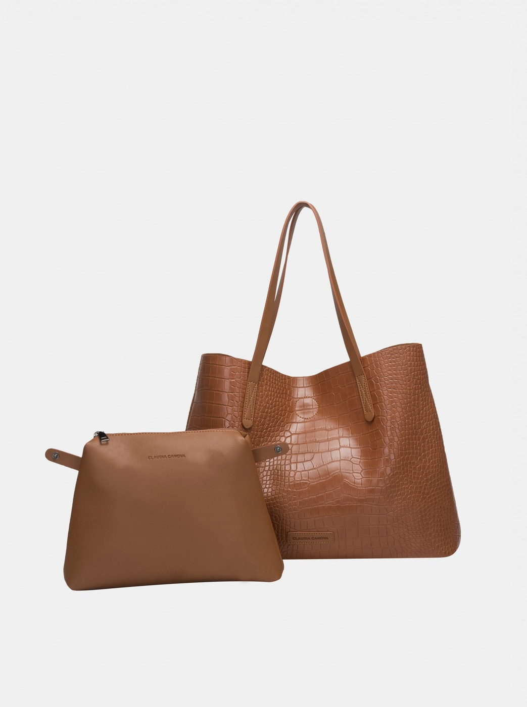 Brown shopper with crocodile pattern and removable claudia canova ophelia case