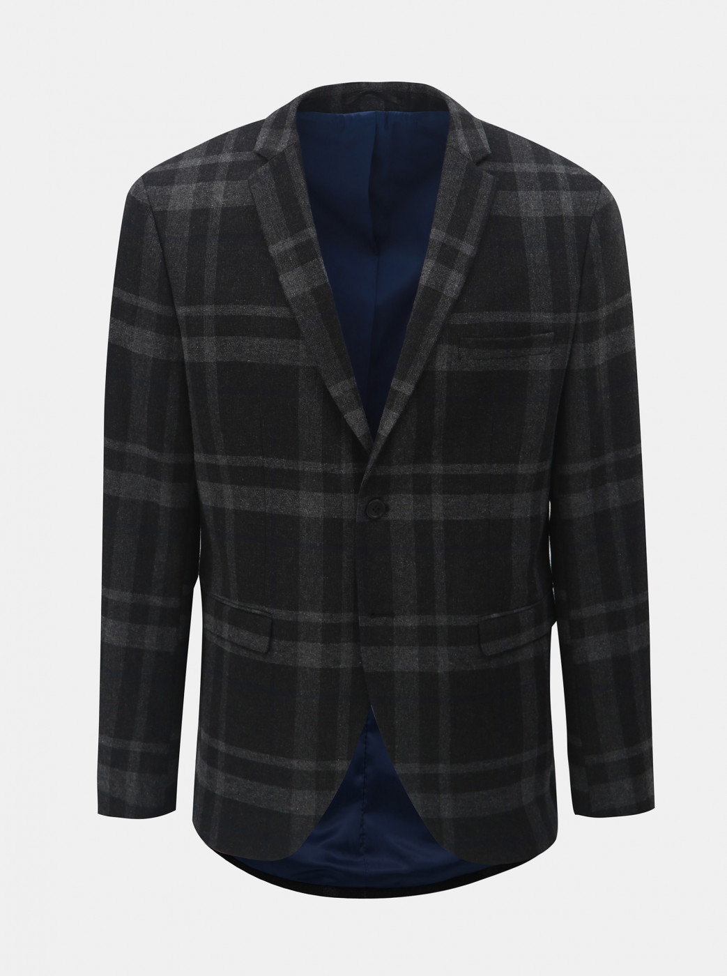 Dark Grey Woolen Plaid Suit Jacket Selected by Homme Mylojole