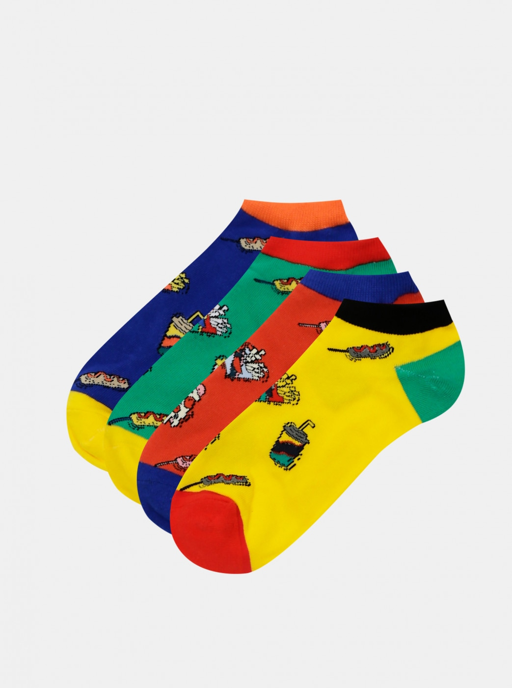 Set of four pairs of socks in yellow, red and blue Jack & Jones Fast Food