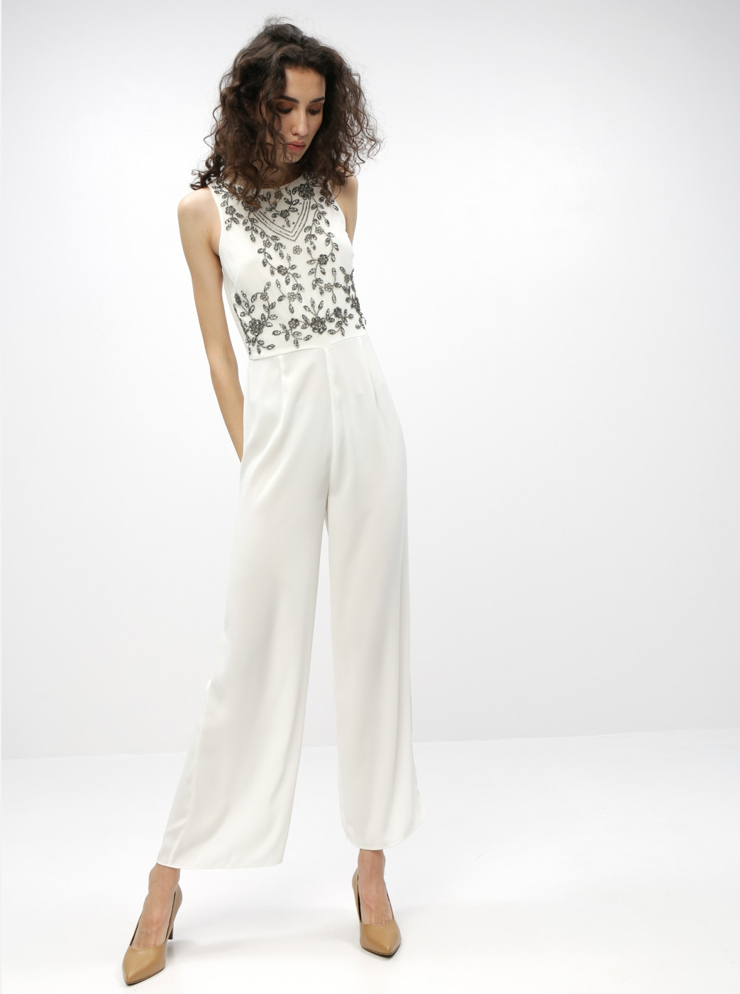 Dorothy Perkins White Jumpsuit with Beaded Embroidery