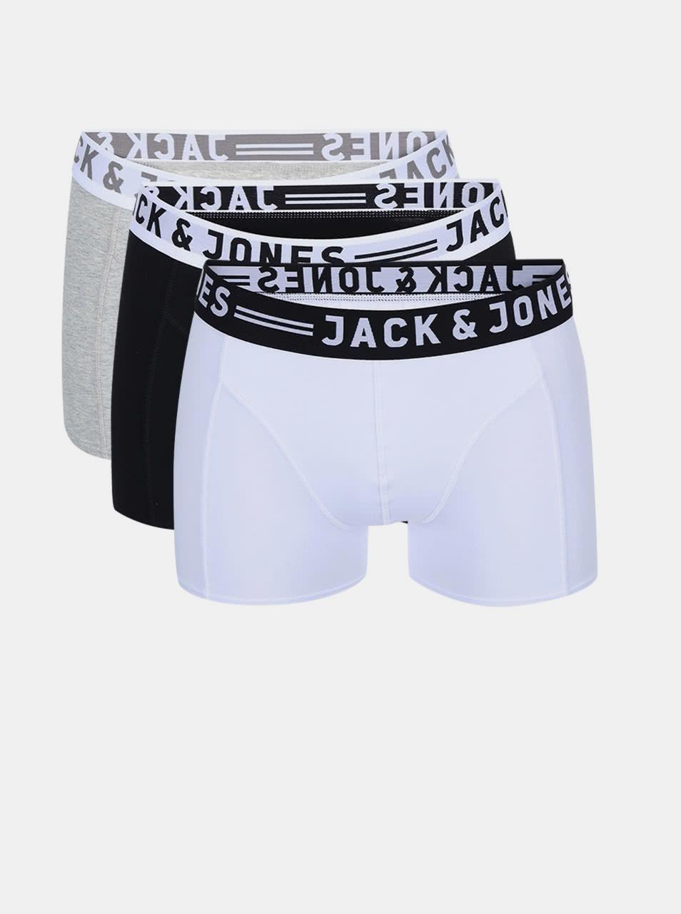 Set of three boxers in grey, white and black Jack & Jones Sense