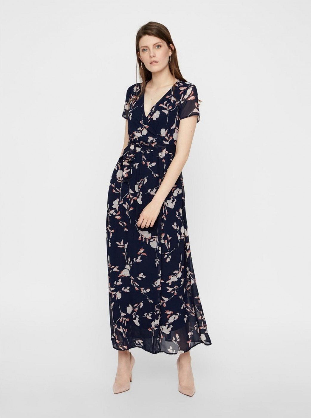 Dark blue floral maxi dress with translared skirt VERO MODA Amsterdam
