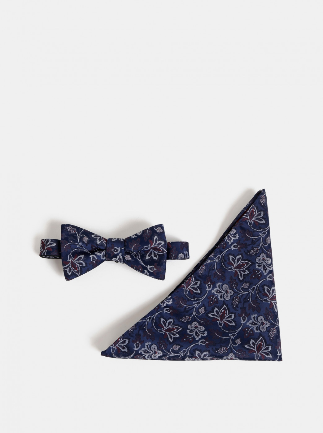 Dark blue floral bow tie with handkerchief Selected Homme Martin