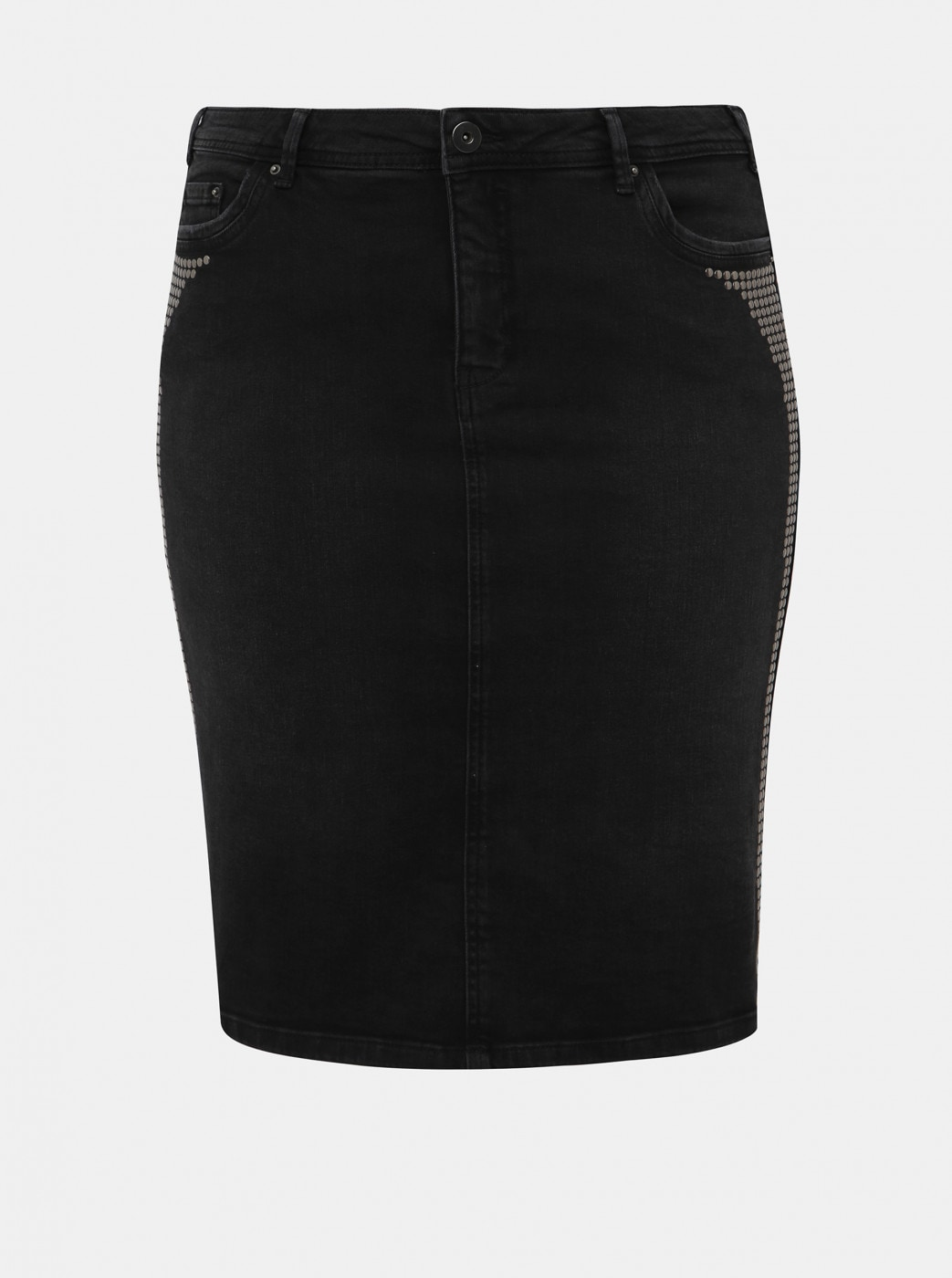 Zizzi Minsk Dark Grey Denim Pencil Skirt