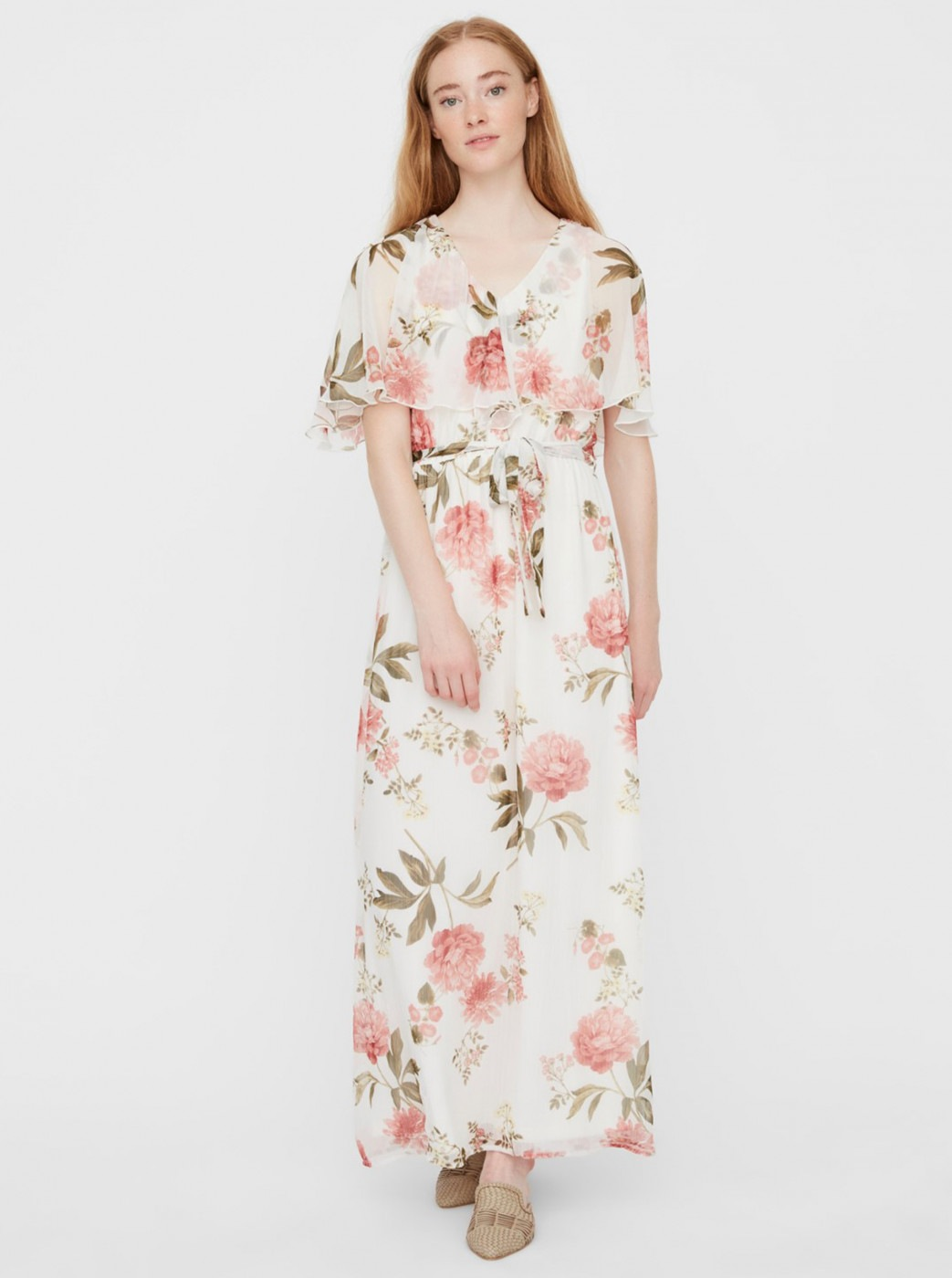 White floral maxi dress VERO MODA Lucca