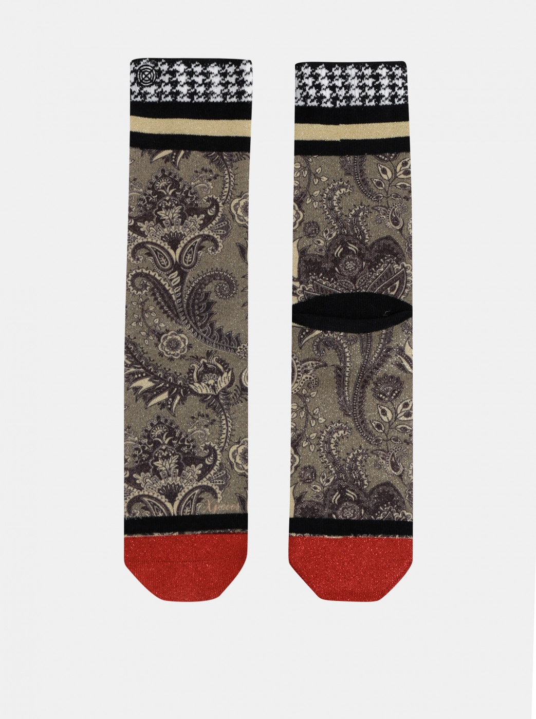 Floral women's socks in gold color XPOOOS