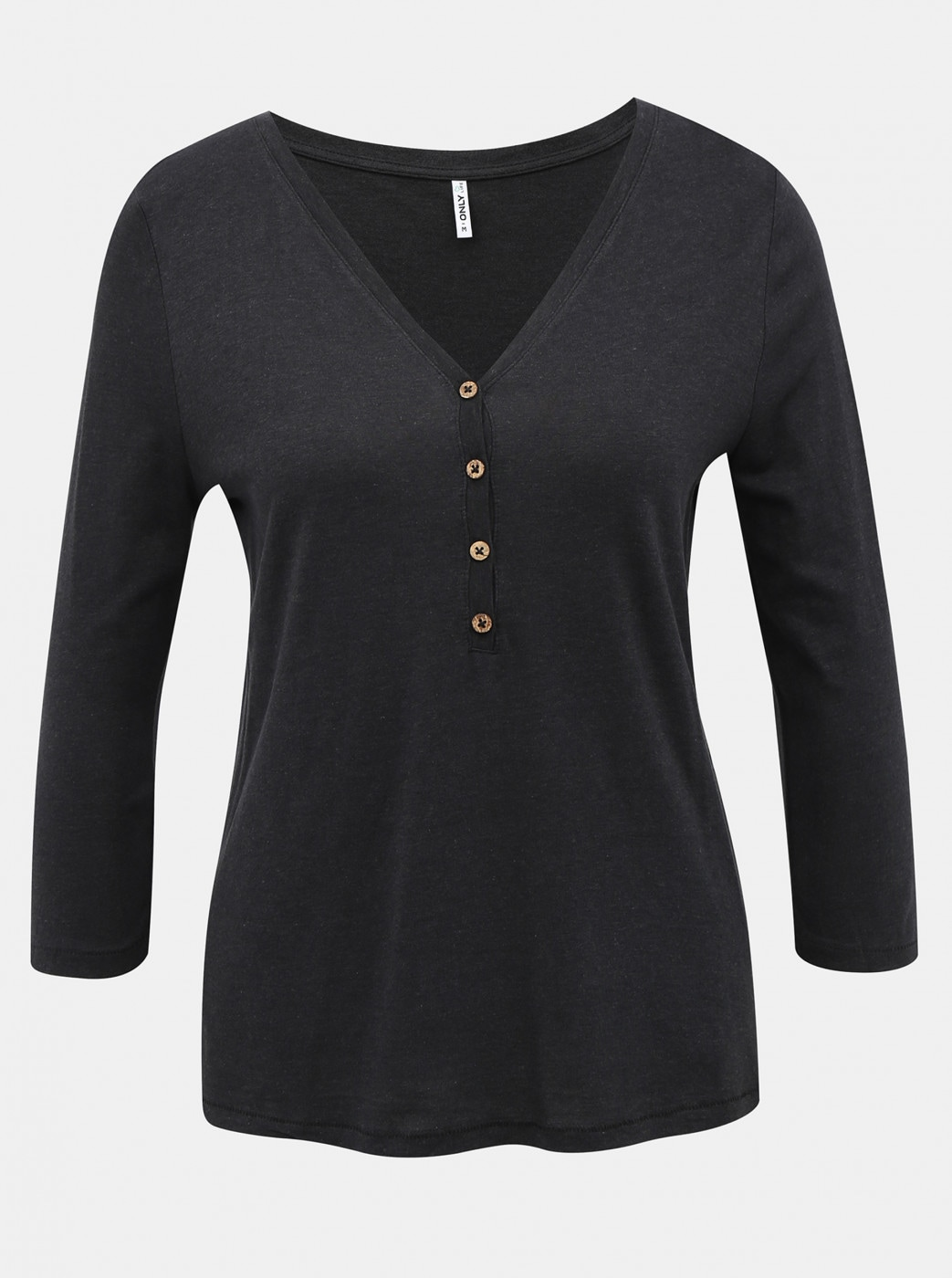 Black T-shirt with 3/4 sleeve ONLY Rosely